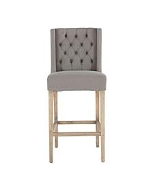 "Chloe Linen Bar Chair with Napoleon Legs - 22"" x 21"" x 45.5"""