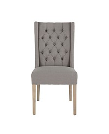 Chloe Linen Dining Chairs with Napoleon Legs, Set of 2