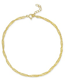 Singapore Chain Ankle Bracelet in 18k Gold-Plated Sterling Silver, Created for Macy's