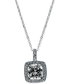 "Giani Bernini Cubic Zirconia Halo Pendant Necklace in Sterling Silver, 18"" + 3"" Extender, Created for Macy's"