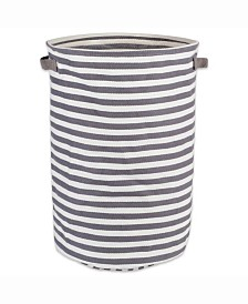 Design Import Herringbone Woven Cotton Laundry Hamper Stripe, Round