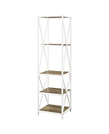 "61"" Metal Wood Bookcase"