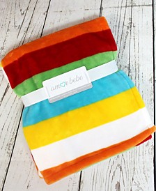 Bright Stripes Coral Fleece Baby Blanket