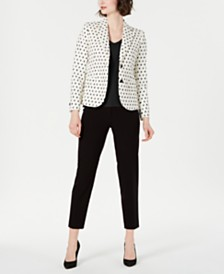 Anne Klein Textured Blazer, V-Neck Top & Slim-Leg Pants