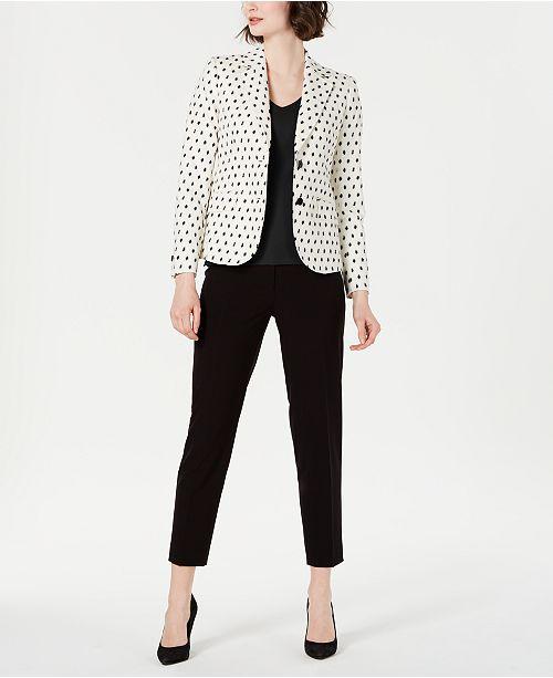 Anne Klein Textured Blazer, V-Neck Top & Slim-Leg Pants