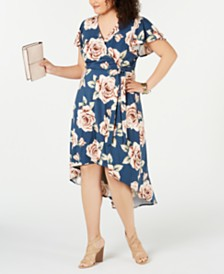 BCX Trendy Plus Size Printed High-Low Wrap Dress