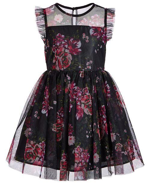 Pink & Violet Toddler Girls Printed Mesh Dress