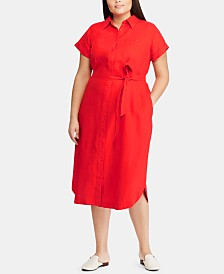 Lauren Ralph Lauren Plus Size Linen Shirtdress
