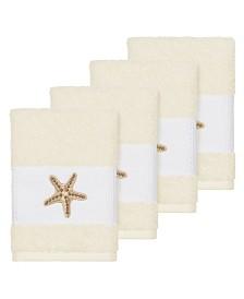 Linum Home Turkish Cotton Lydia 4-Pc. Embellished Washcloth Set