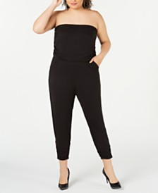 Almost Famous Trendy Plus Size Strapless Jumpsuit