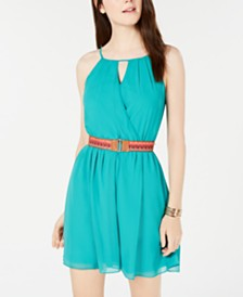 BCX Juniors' Belted Chiffon Dress