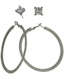 GUESS Silver-Tone 2-Pc. Set Cubic Zirconia Stud & Textured Hoop Earrings