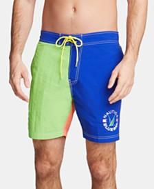 "Nautica Men's Blue Sail Colorblocked 8"" Swim Trunks, Created for Macy's"
