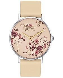 COACH Women's Perry Taupe Leather Strap Watch 36mm Created for Macy's