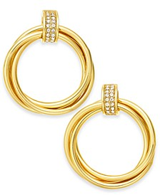 Gold-Tone Pavé Ring Small Hoop Earrings  , Created for Macy's