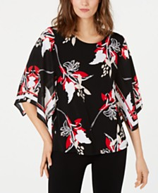 Alfani Petite Printed Cape-Sleeve Top, Created for Macy's