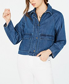 Raglan-Sleeve Denim Jacket