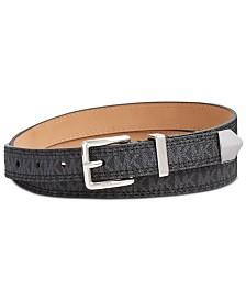 MICHAEL Michael Kors Leather Logo-Print Skinny Belt