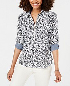 Zip-Neck Printed Cotton Top, Created for Macy's