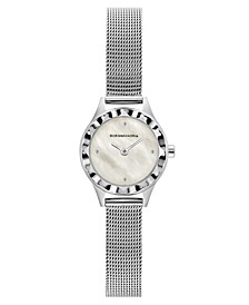 Ladies Round Silver Stainless Steel Mesh Strap Watch, 24mm