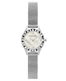 BCBGMAXAZRIA Ladies Round Silver Stainless Steel Mesh Strap Watch, 24mm