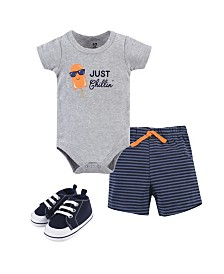 Hudson Baby Cotton Bodysuit, Shorts and Shoe Set, 0-18 Months