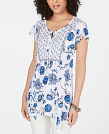 Style & Co Petite Multi-Print Tunic Top, Created for Macy's