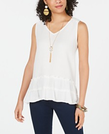 Style & Co Cotton Tiered-Ruffle Hem Top, Created for Macy's