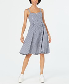French Connection Lavande Gingham-Print Button-Front Dress