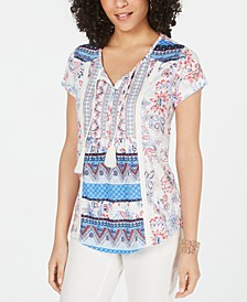 Mixed-Print Peasant Top, Created for Macy's