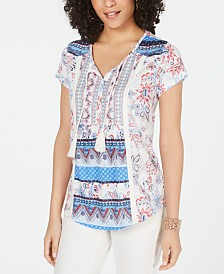 Style & Co Petite Printed Tassel Top, Created for Macy's