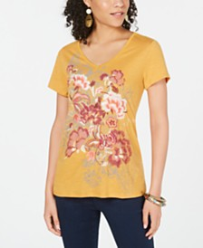 Style & Co Floral-Graphic V-Neck Top, Created for Macy's
