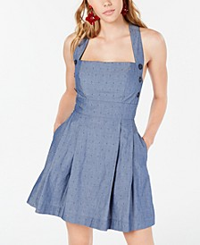 Juniors' Chambray Button-Side Dress
