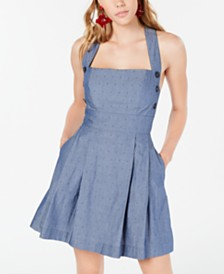 Teeze Me Juniors' Chambray Button-Side Dress