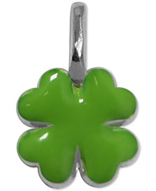 Enamel Mini Clover Charm in Sterling Silver
