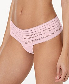 Classic Cotton Embroidered-Waist Thong DK5025