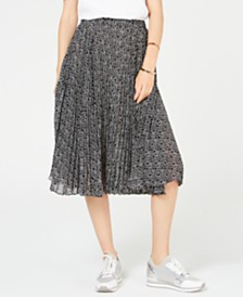 Michael Michael Kors Logo Pleated Skirt