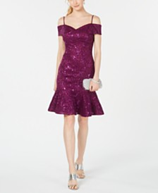 Nightway Embellished Cold-Shoulder Sheath Dress