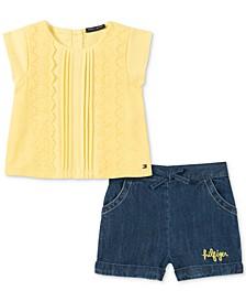 Baby Girls 2-Pc. Top & Denim Shorts Set