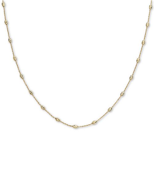 "Macy's Textured Bead 18"" Statement Necklace in 18k Gold-Plated Sterling Silver"