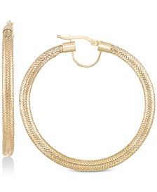 Mesh Hoop Earrings in 14k Gold