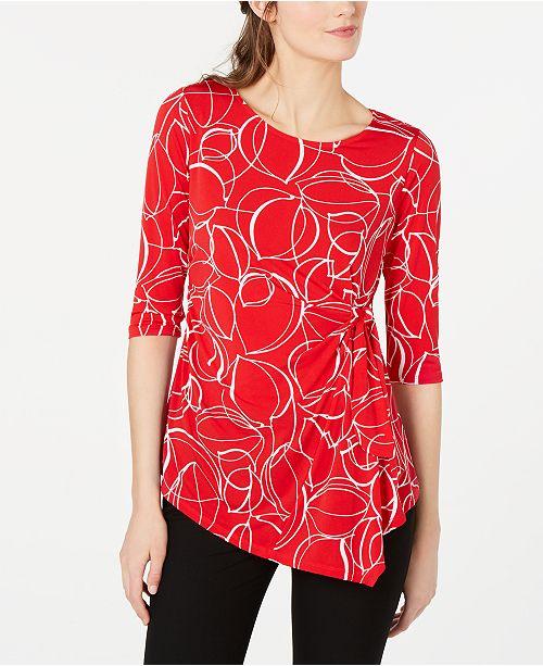 Alfani Petite Printed Side-Tie Top, Created for Macy's