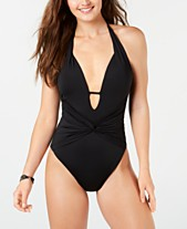 6d3d3eda06113 Bar III Plunge Twisted Tummy Control One-Piece Swimsuit, Created for Macy's