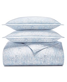 Sleep Luxe Cotton 800-Thread Count 3-Pc. Printed Paisley Blue Full/Queen Duvet Cover Set, Created for Macy's