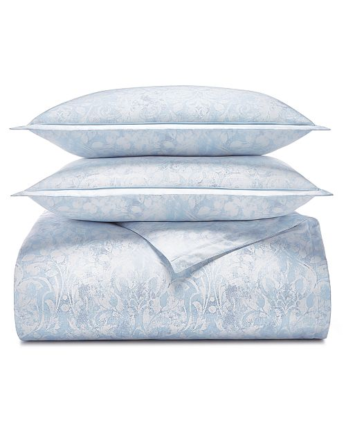 Charter Club Sleep Luxe Cotton 800-Thread Count 3-Pc. Printed Paisley Blue Full/Queen Duvet Cover Set, Created for Macy's