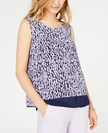 MICHAEL Michael Kors Printed Split-Back Tank, Regular & Petite