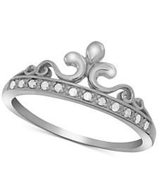 Diamond Crown Statement Ring (1/10 ct. t.w.) in Sterling Silver