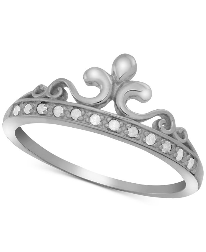 Macy's - Diamond Crown Statement Ring (1/10 ct. t.w.) in Sterling Silver