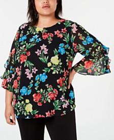 Calvin Klein Plus Size Printed Ruffle-Sleeve Top