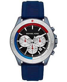 Michael Kors Men's Chronograph Theroux Sport Navy Silicone Strap Watch 45mm